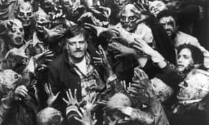 George A Romero on set of Day of the Dead in 1985.