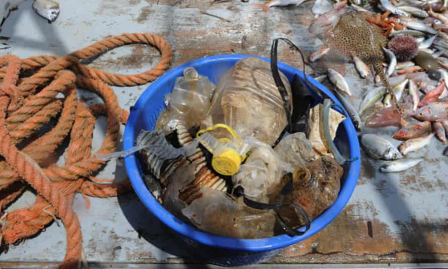 Plastic waste brought ashore in Livorno, Tuscany.