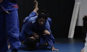 The author, Elena Gomez, training at Absolute MMA St Kilda, Melbourne
