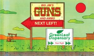 gun and weed sales illustration
