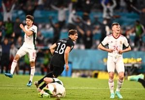 Leon Goretzka of Germany reacts after scoring the 2-2 equalizer.