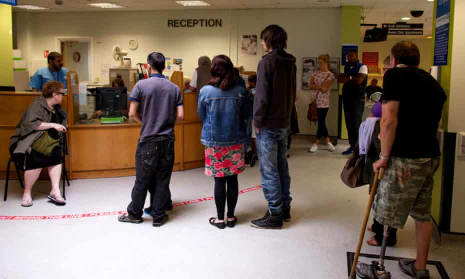 A queue of people in the accident and emergency department at Bradford Royal Infirmary, West Yorkshire.