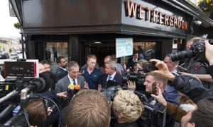 Nigel Farage, the Brexit party leader, speaking the press outside a Wetherspoon pub in Merthyr Tydfil, south Wales, ahead of a rally in the town tonight.