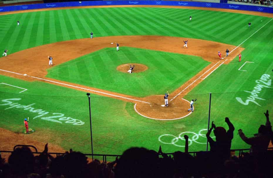 Team USA celebrate winning gold after victory in the baseball final over Cuba at the 2000 Olympic Games in Sydney, Australia.