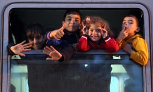 Children  on train at Tovarnik in Croatia