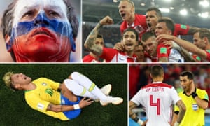 Clockwise from top left: Russian fans have enjoyed the hosts' success; Croatia were the standout team in the group stage; VAR has added to the drama; and Neymar has had an eventful tournament so far.