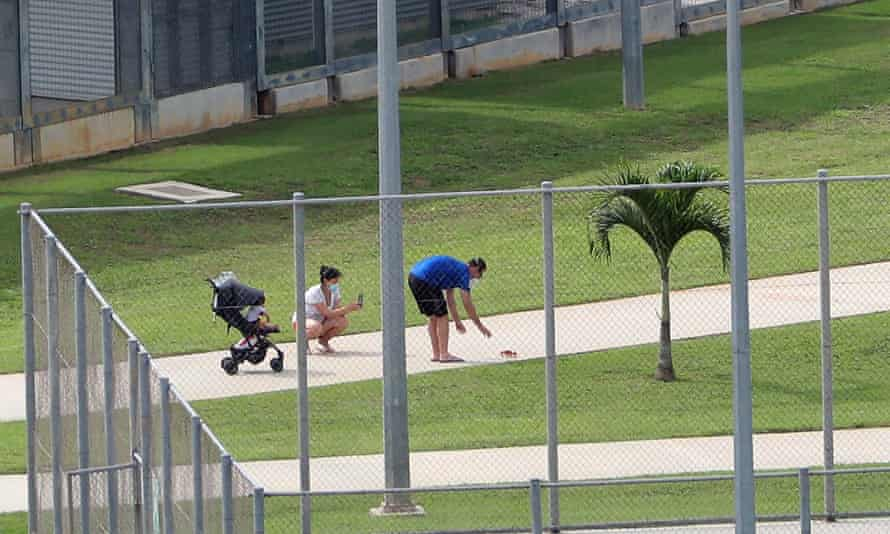 Evacuees at the Australian Immigration Detention Centre on Christmas Island in February.