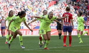 The English forward Toni Duggan wheels away after scoring the second Barcelona goal in their victory.