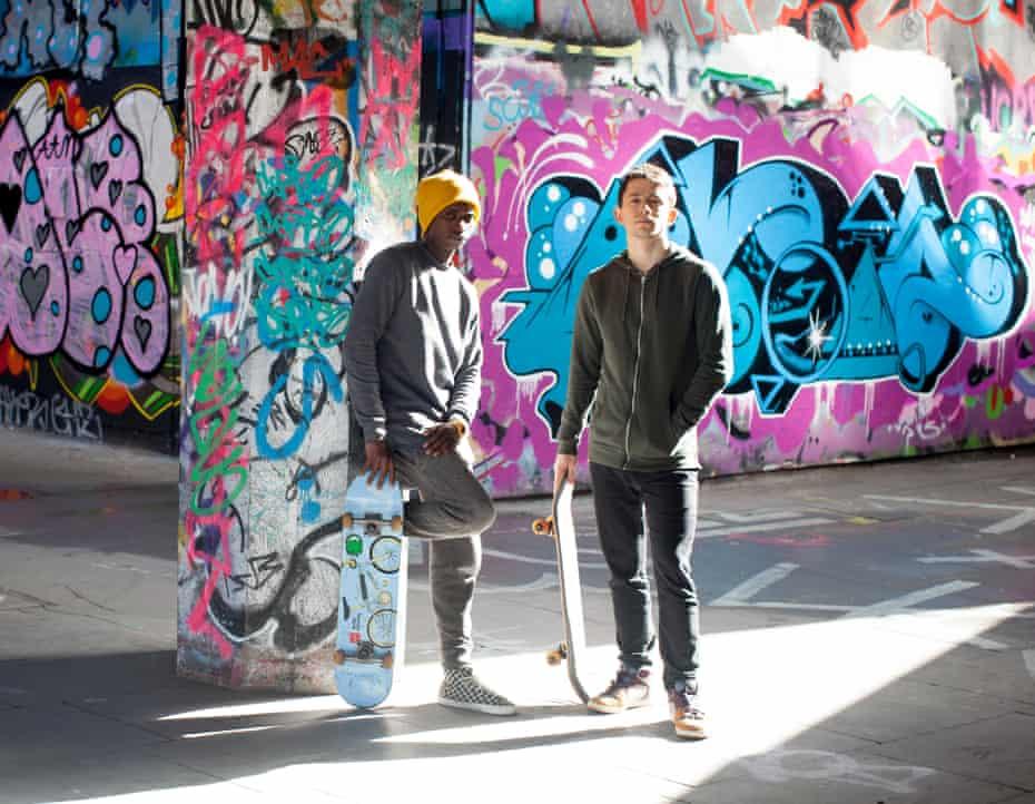Malik and Hugh Wyeth with skateboards