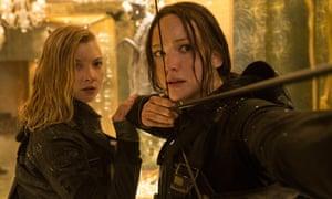 Hot shot … Jennifer Lawrence, right, in The Hunger Games: Mockingjay – Part 2.