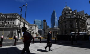 The Bank of England and the Royal Exchange in the City of London.
