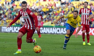 Antoine Griezmann in action against Las Palmas in Gran Canaria, where he struck twice to maintain Atlético's gap at the summit.