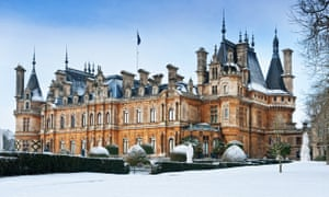 Winter snow scenes at Waddesdon Manor National Trust Buckinghamshire