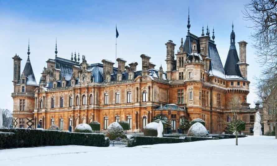 Winter snow scenes at Waddesdon Manor National Trust Buckinghamshire