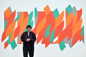 Bridget Riley with her 2012 work Rajasthan at the Hayward Gallery.