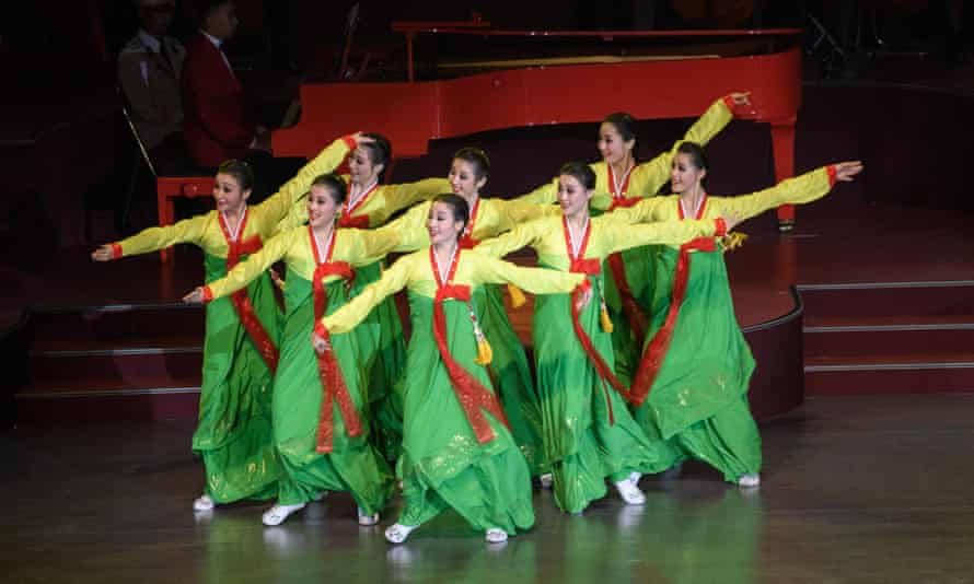 Performers take part in a concert featuring three of North Korea's top musical ensembles, the State Merited Chorus army choir, the Samjiyon Orchestra and the Mansudae Art Troupe.