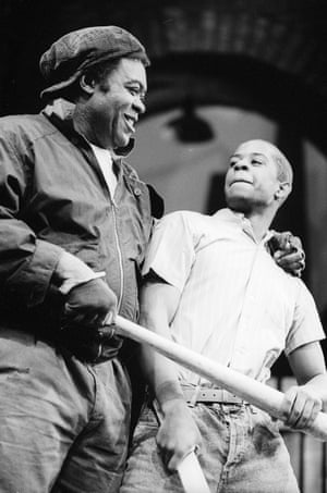 Yaphet Kotto with Adrian Lester in Fences at the Garrick theatre in 1990.