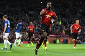 Paul Pogba celebrates scoring the opener from the penalty spot as Manchester United beat Everton 2-1 at Old Trafford.