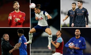 Manchester United's Bruno Fernandes, Gareth Bale of Spurs, Manchester City's Aymeric Laporte and Ruben Dias, Chelsea's Hakim Ziyech and Wesley Fofana of Leicester City.
