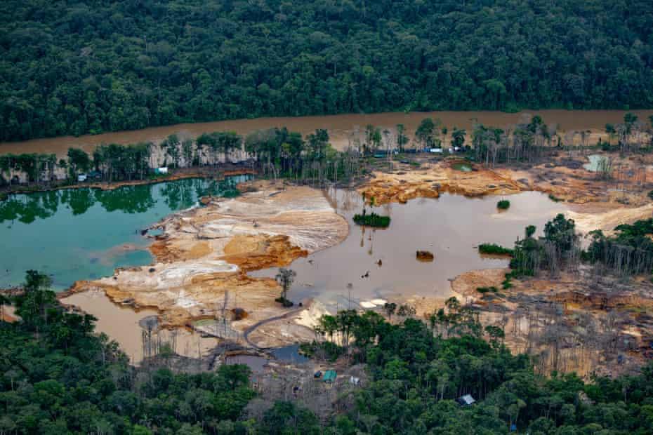 An illegal gold mine in the Uraricoera river region of the Yanomami reserve.