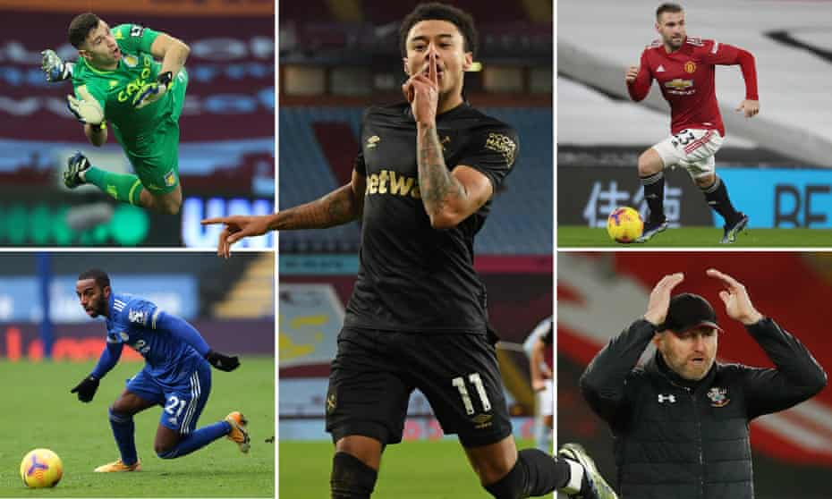 Clockwise from top left: Aston Villia keeper Emiliano Martínez, new West Ham recruit Jesse Lingard, Manchester United's Luke Shaw, Southampton manager Ralph Hasenhüttl, and Leicester's Ricardo Pereira.