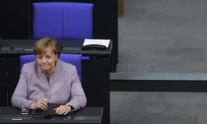Angela Merkel attends the debate about the European Union at the Bundestag in Berlin.