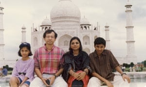Diksha Basu, left, with her parents and brother in India in the 1990s.