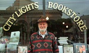 Lawrence Ferlinghetti in front of his bookshop in San Francisco.
