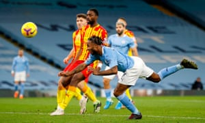 Raheem Sterling cannot direct his header past Johnstone.