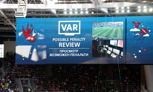 The big screen inside the stadium shows VAR in use for a penalty review during the 2018 FIFA World Cup Russia Round of 16 match between Sweden and Switzerland at Saint Petersburg Stadium.