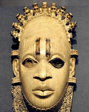The Benin mask of Idia has a crown depicting the faces of Portuguese traders.
