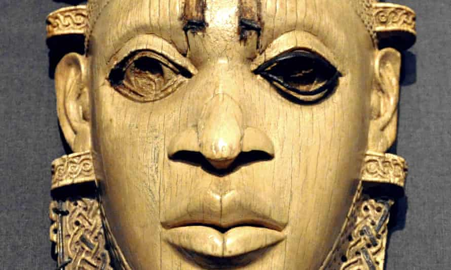 Mask from Benin, 16th century; ivory, iron and copper wire.