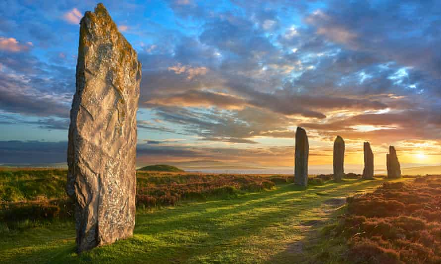 The Ring of Brodgar, 2500-2000 BC, a neolithic stone circle, Orkney, Scotland.