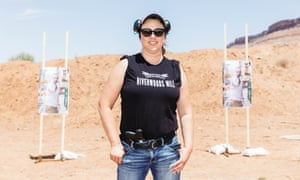 Michelle Oldroyd, 53, at a free tactical training class for teachers at a gun range in Hurricane, Utah, on 6 June.