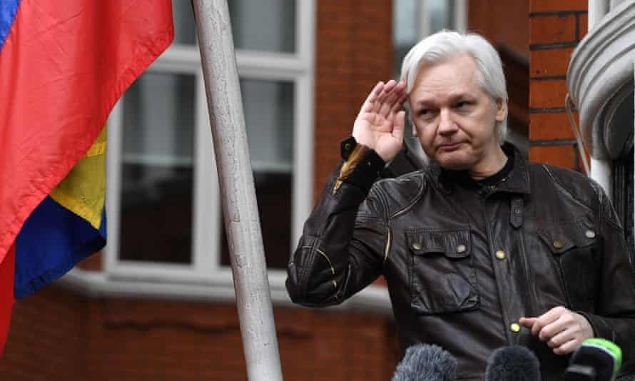 Julian Assange on the balcony of the Ecuadorian embassy in London in May 2017
