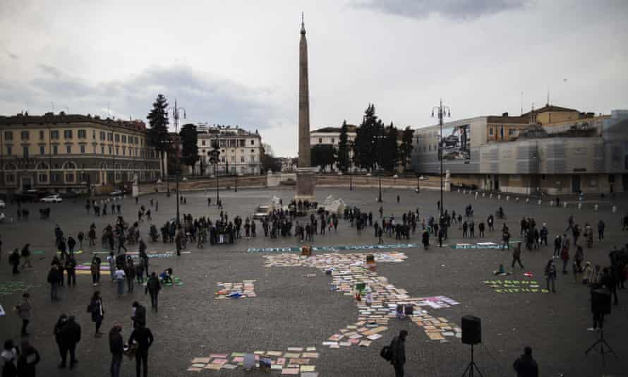 Activists take part in a demonstration in Rome, Italy, to demand concrete action to combat climate change.