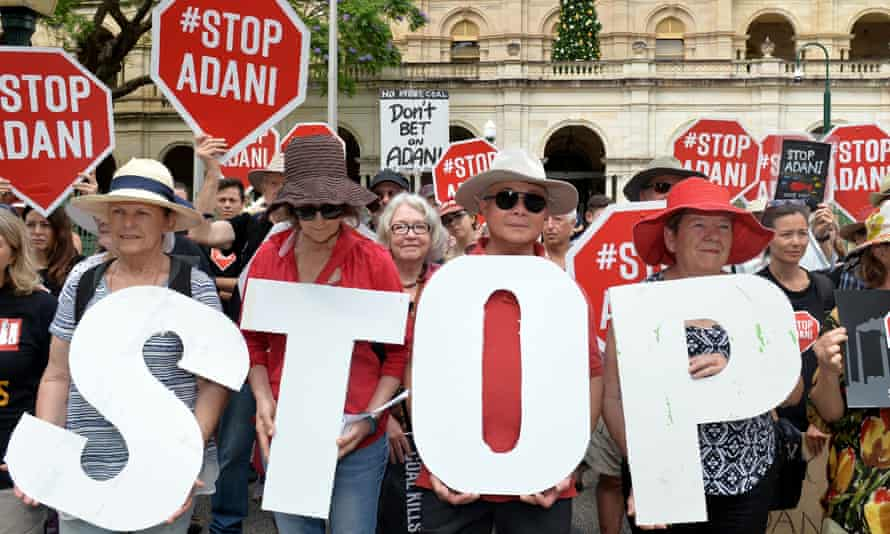 Adani protestors in Brisbane.