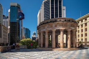 Deserted Anzac Square in Brisbane.