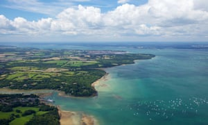 Aerial view of the Solent strait between the Isle of Wight and the south coast of England