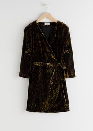 Velvet mini wrap dress, £85, stories.com