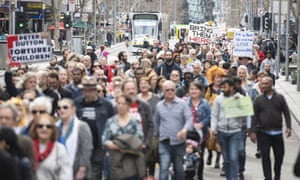 Supporters of the Tamil asylum seeker family march through Melbourne on Sunday.