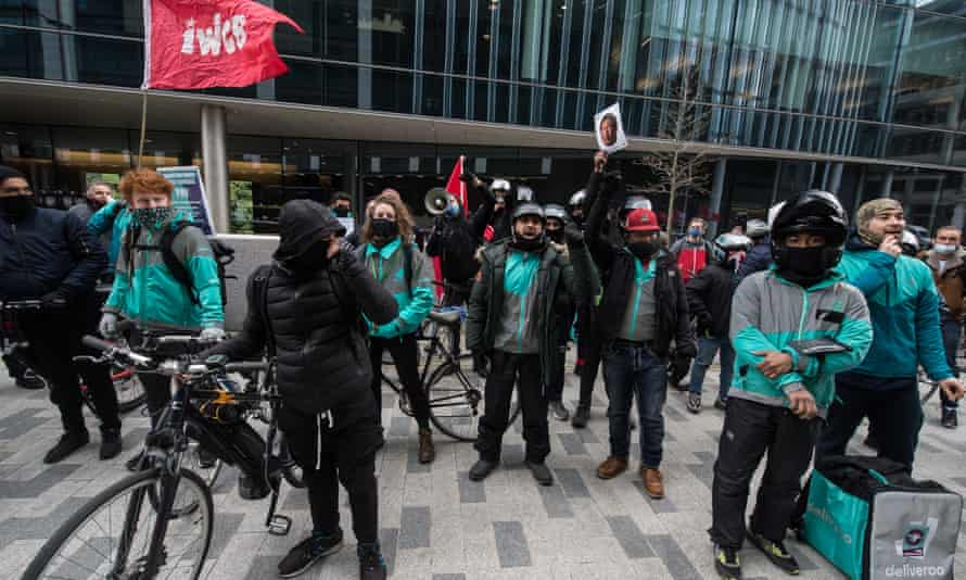 Striking Deliveroo riders, London, 6 April.