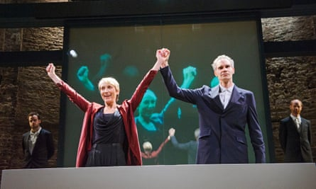 Lia Williams and Angus Wright in Oresteia by Aeschylus at the Almeida.