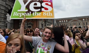 Campaigners in Dublin celebrate the result of the Irish abortion referendum