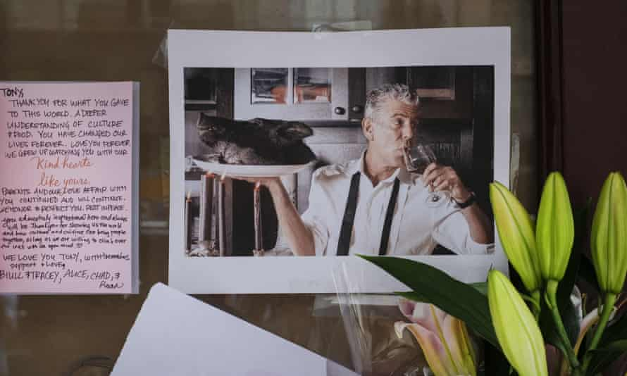 A memorial to Anthony Bourdain at Brasserie Les Halles. Bourdain was found dead Friday.