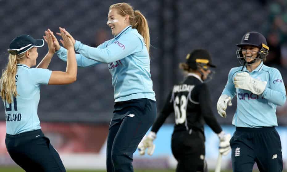 Sophie Ecclestone celebrates bowling New Zealand's Brooke Halliday