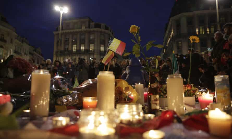 A makeshift memorial on the place de la Bourse in Brussels.