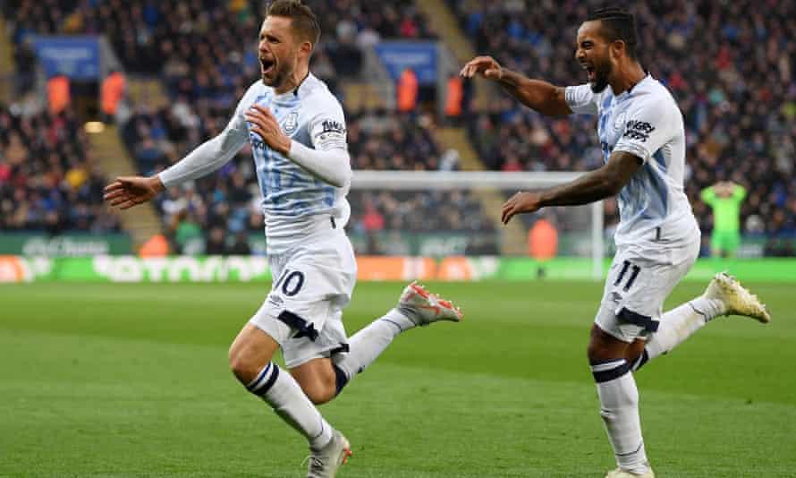 Gylfi Sigurdsson celebrates scoring Everton's second goal against Leicester.