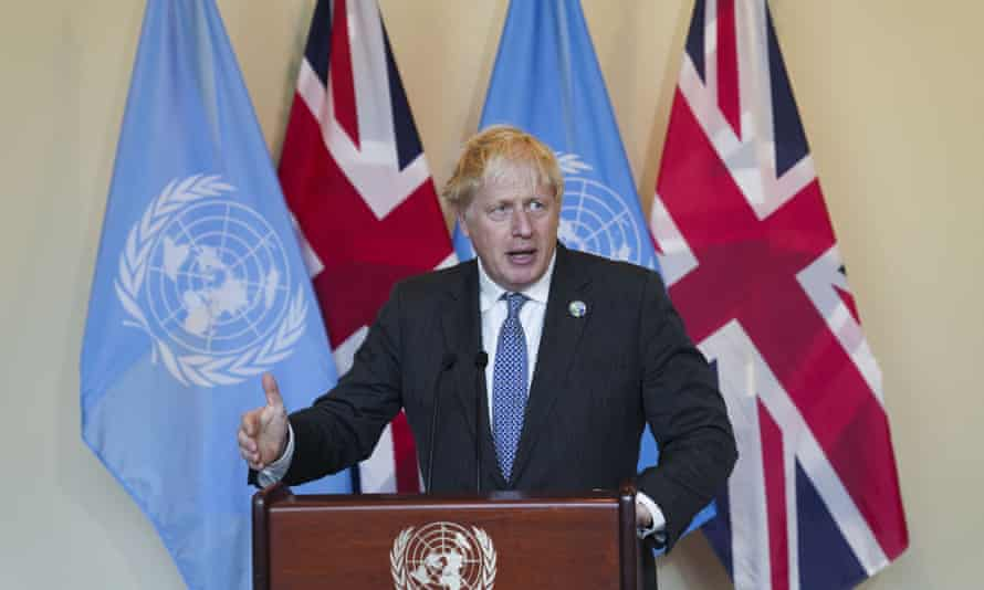 Boris Johnson speaks to reporters after attending the Informal Leaders Roundtable on Climate Action at the UN headquarters in New York