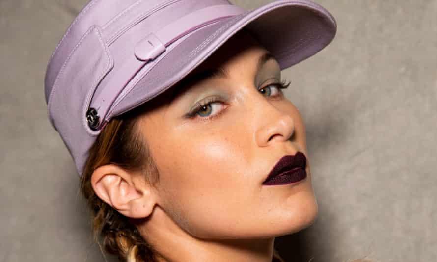 Dark arts: deep burgundy lips as seen on Bella Hadid at Max Mara s/s 20.